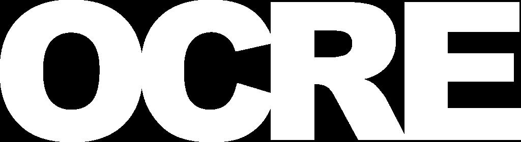 Het officiele logo van OCRE gekleurd in het wit