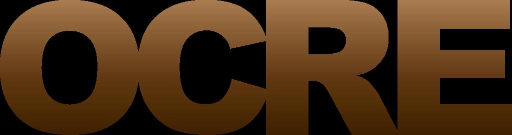 Het officiele logo van OCRE gekleurd in een bruine gradient
